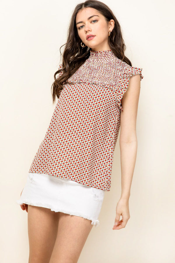 THML Smocked Print Top in Red