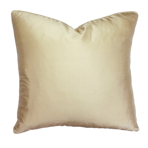 Dupioni Silk Pillow, Wheat Gold (18x18x2)