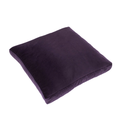 Cotton Velvet Pillow Cover, Aubergine (18x18x2)