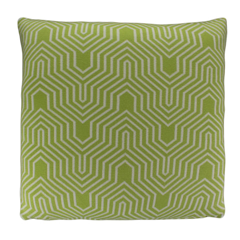Cotton Knit Pillow Cover, Green/Ivory Geo (20x20)