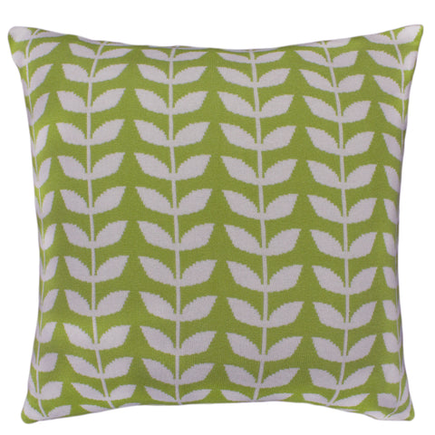 Cotton Knit Pillow Cover, Green/Ivory Leaf (20x20)