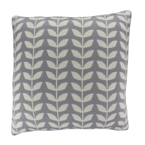 Cotton Knit Pillow Cover, Grey/Ivory Leaf (20x20)