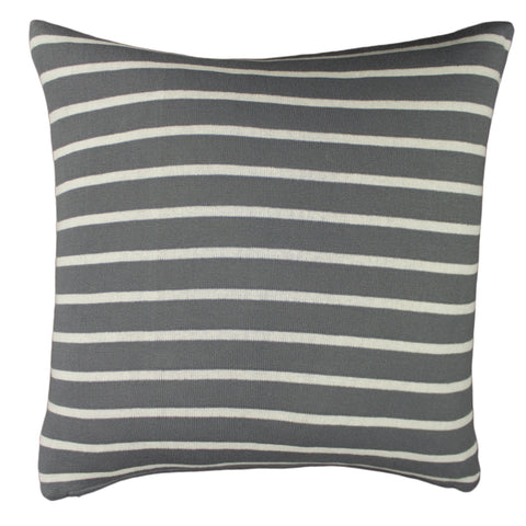Cotton Knit Pillow Cover, Grey/Natural Stripe (20x20)