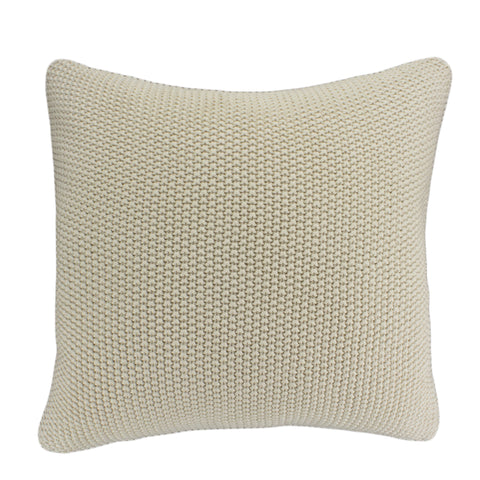 Cotton Knit Pillow Cover, Ivory Moss Stitch (20x20)