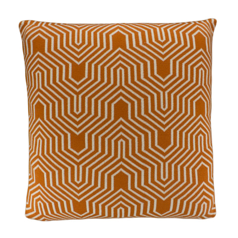 Cotton Knit Pillow Cover, Orange/Ivory Geo (20x20)