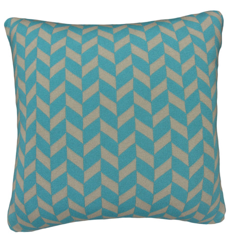 Cotton Knit Pillow Cover, Polygon Stone/Aqua (20x20)