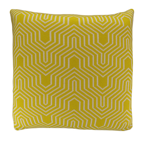 Cotton Knit Pillow Cover, Yellow/Natural Geo (20x20)