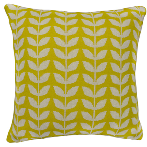 Cotton Knit Pillow Cover, Yellow/Natural Leaf (20x20)