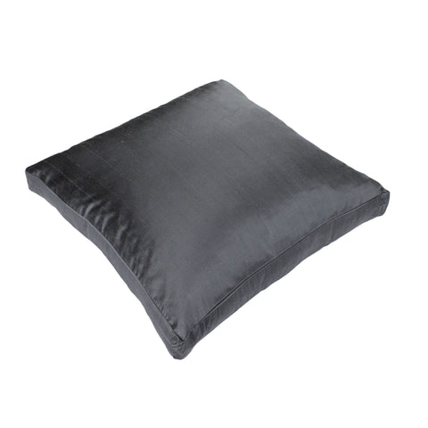 Dupioni Silk Pillow Cover, Pewter (18x18x2)