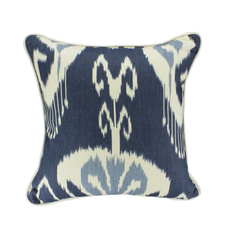 Cotton Pillow Cover, Bansuri Denim Ikat (18x18)