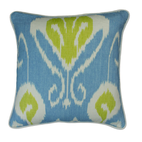 Cotton Linen Pillow Cover, Bansuri Ikat Capri (18x18)