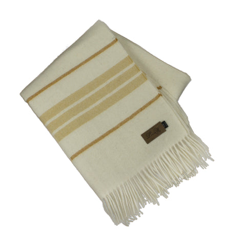 Alpaca Throw, Dublin Ivory/Mustard Stripe