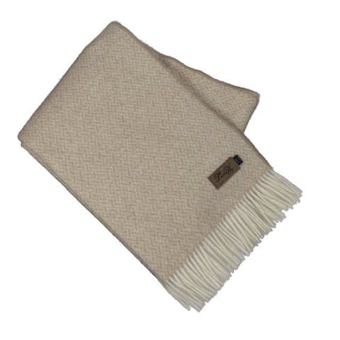 Alpaca Throw, Oxford Basket Weave Beige