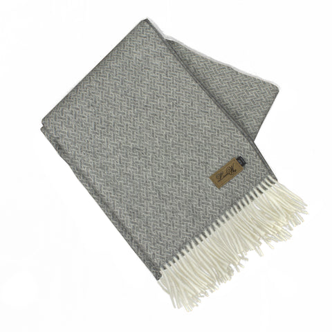 Alpaca Throw, Oxford Basket Weave Charcoal
