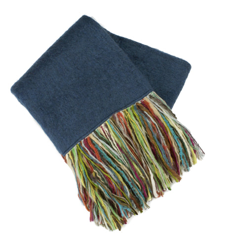 Mohair Fringe Throw, Blue/Multi