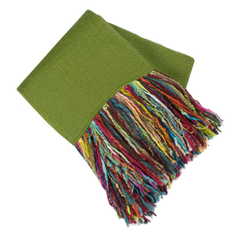 Mohair Fringe Throw, Green/Multi