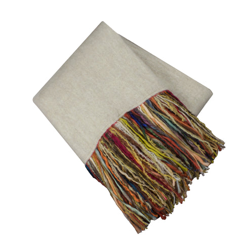 Mohair Fringe Throw, Linen/Multi
