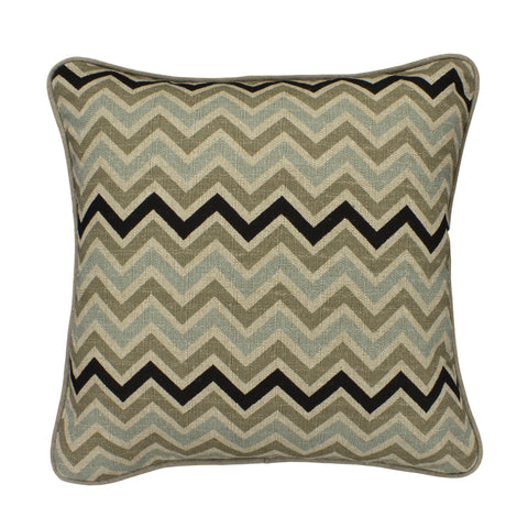 Cotton Pillow Cover, Stone Denton Chevron (18x18)
