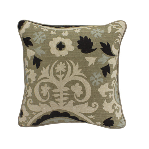 Cotton Pillow Cover, Stone Denton Suzani (18x18)