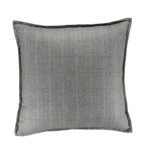 Suiting Pillow Cover, Blu/gry/crm w/ taupe (20x20)