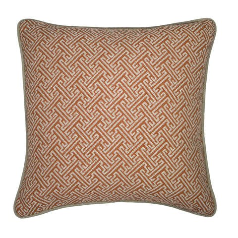 Uph. Pillow Cover, Saffron Greek Key (18x18)