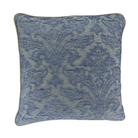 Upholstery Pillow Cover, Blue/Taupe Damask (20x20)