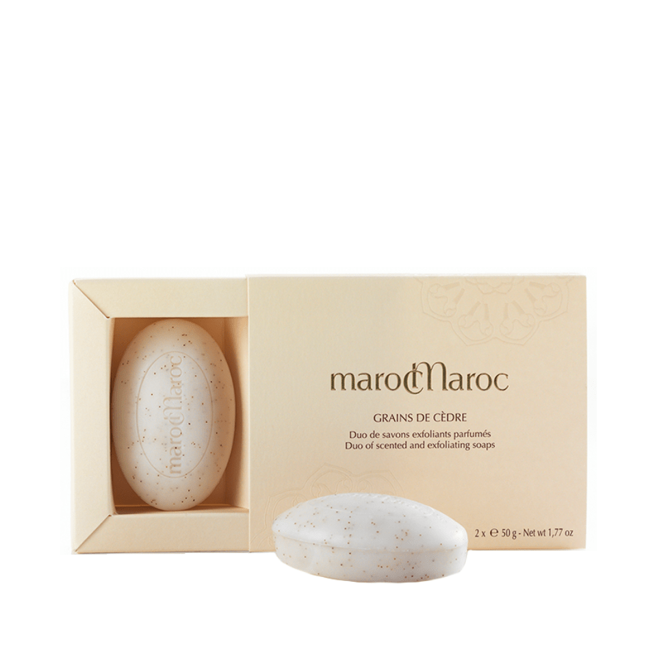 marocMaroc Grains de Cèdre Scented Exfoliating Soap 2x50g