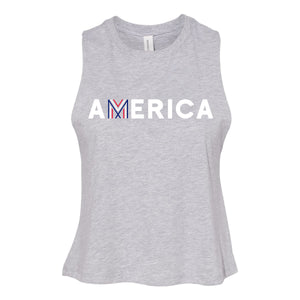 America Cropped Racerback Tank