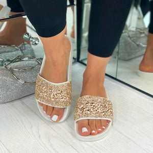 Womens Embellished Sliders Glitzer Sandalen Holiday Mules Slip On Schuhe