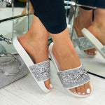 Laden Sie das Bild in den Galerie-Viewer, Womens Embellished Sliders Glitzer Sandalen Holiday Mules Slip On Schuhe