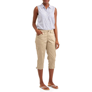 Frauen Cropped Cargo Plain Casual Pants