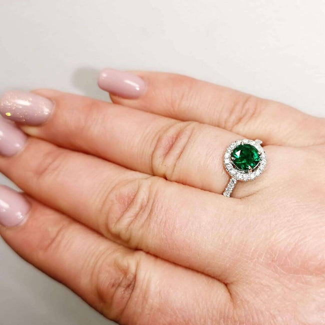 Emerald and Diamonds 14K Gold Ring - SOPHYGEMS