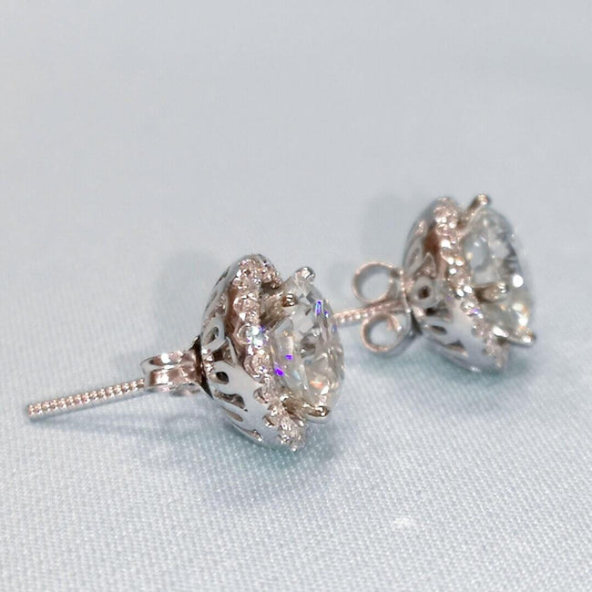 Gold Earrings with Diamonds and Moissanite - SOPHYGEMS