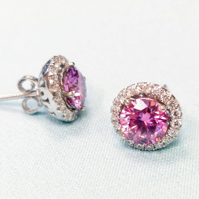Gold Earrings with Diamonds and Pink Moissanite - SOPHYGEMS