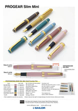 Load image into Gallery viewer, Sailor Pro Gear Slim Mini Stellar Blue/Gold 14K GT MF