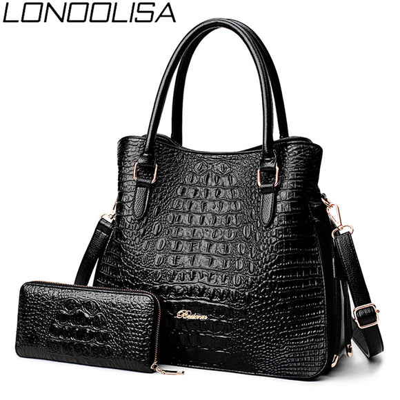 LONOOLISA Fashion Alligator 2 Sets Purses And Handbags PU Leather Women Messenger Bags Ladies Hand Crossbody Bags For Womenc2019