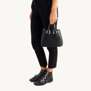 Mini Garnet Tote - Black/Wooden Accessories