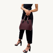 Garnet Tote - Burgundy/Wooden Accessories