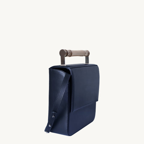 Helve Crossbody - Navy/Wooden Handle
