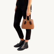 Mini Garnet Tote - Tan/Wooden Accessories