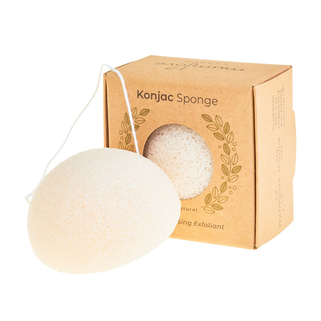 Natural Japanese Konjac Facial Sponge - 100% Pure White