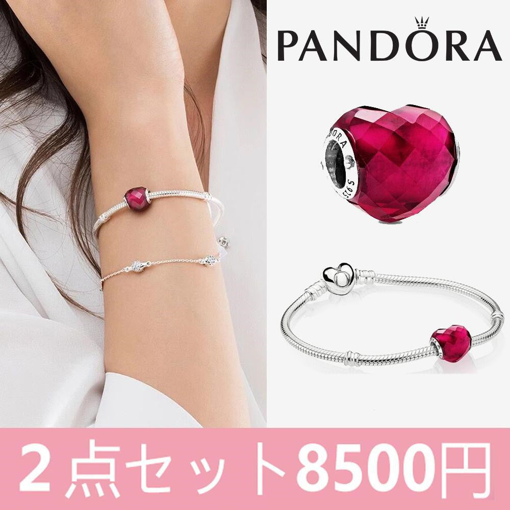 PANDORA 2点セット Moments Heart & Snake Chain Bracelet × Fuchsia Pink Heart Char パンドラ ブレスレットm