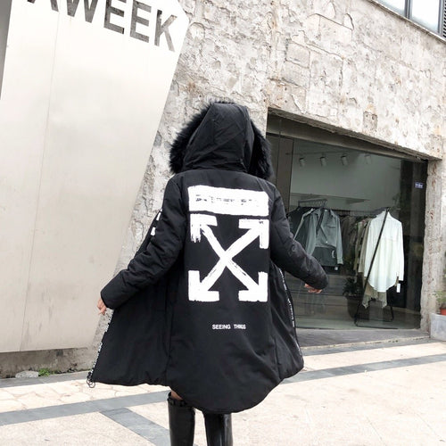 ロングダウン OFF-WHITE VIRGIL ABLOH MYSTIQUE PARKA ブラック