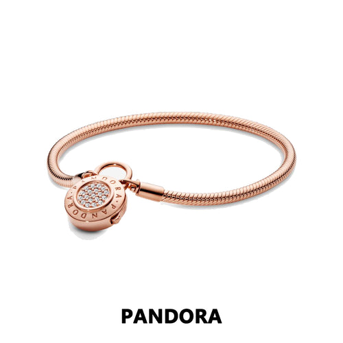 PANDORA Moments Smooth PANDORA Rose Bracelet, Signature Padlock パンドラ ゴールド