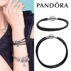 PANDORA Moments Double Woven Leather Bracelet, Black   パンドラ チャーム 590745CBK