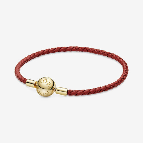Pandora パンドラ ブレスレット Moments Red Woven Leather Bracelet 568777C01-S
