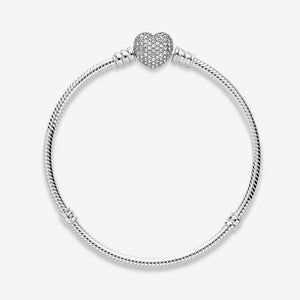 45%OFF PANDORA Moments Sparkling Heart & Snake Chain Bracelet パンドラ チャーム 590727CZ