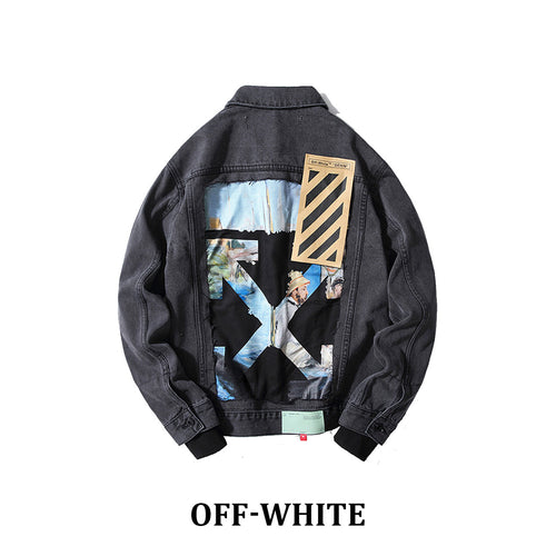 19New Off-White 今期大人気☆BLACK DENIM JACKET