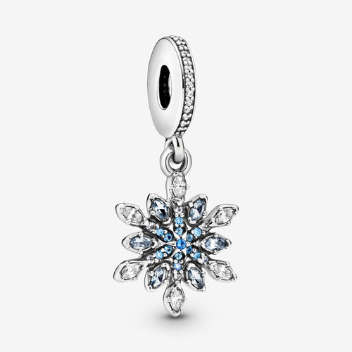 PANDORA パンドラ チャーム Snowflake silver dangle with clear cubic zirconia and blue crystal  791761NBLMX