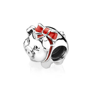 PANDORA Piggy bank silver charm with black and red enamel パンドラ チャーム 791809ENMX